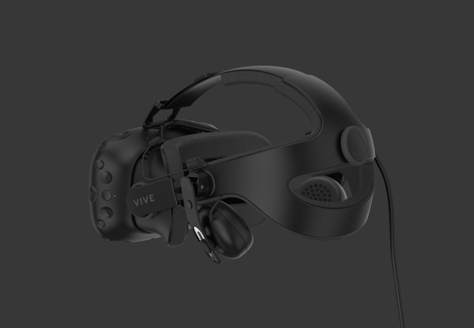 TheViveDeluxe AudioStrapis designed for a more comfortable and convenient VR experience, with integrated earphones and a sizing dial for a quick adjustment of the headstrap.