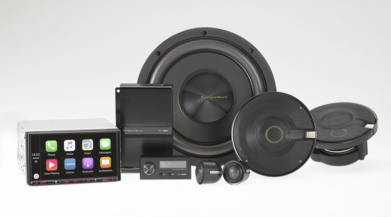 Clarion NX807 CarPlay Source Unit with digital TOSLINK output and Full Digital Sound Z3 digital sound processor and tweeters, Z7 full-range digital speakers and Z25W digital subwoofer.