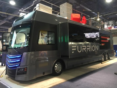 Furrion's Elysium is a 45 ft RV that showcases Furrion's HDTVs, Kitchen appliances, Audio, guidance and Observation products inside. A first at CES, the Elysium defines living luxury complete with HTV on the side and back and a rooftop deck that features a helicopter and a hot tub.