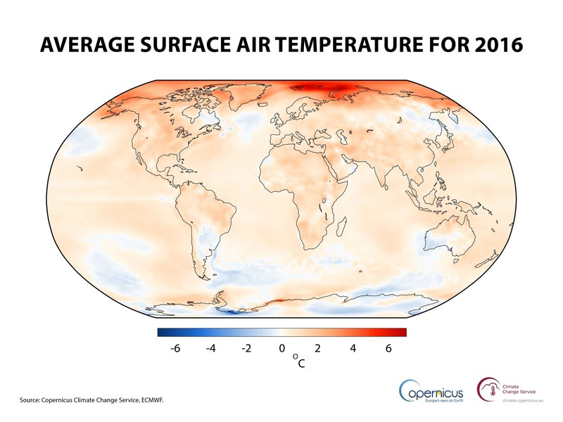 Air temperature at a height of two metres for 2016, shown relative to its 1981-2010 average.  Source: Copernicus Climate Change Service, ECMWF. (PRNewsFoto/C3S)