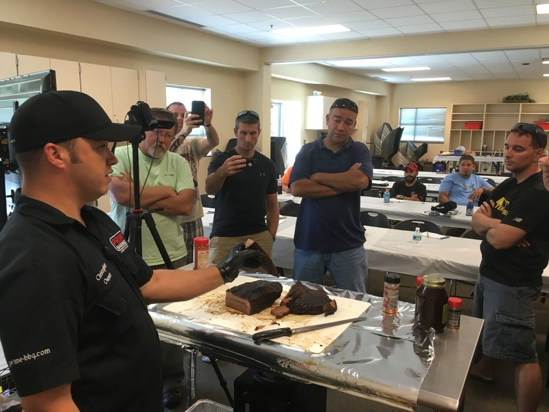 During a recent Wounded Warrior Project(R) (WWP) connection event at Prime Barbecue, a specialty catering service that also offers barbecue preparation classes, injured veterans talked grilling and received trade secrets from an expert.