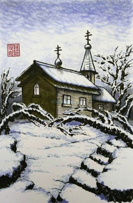 This painting depicts a Russian Orthodox chapel in winter, painted by Seamus Phan/