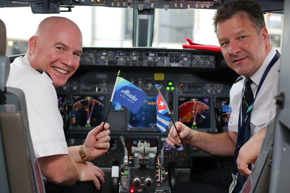 Alaska Airlines pilots John Ladner and Chris Kipp prepare to fly the airline's inaugural flight to Havana, Cuba at Los Angeles International Airport on Jan. 5, 2017.