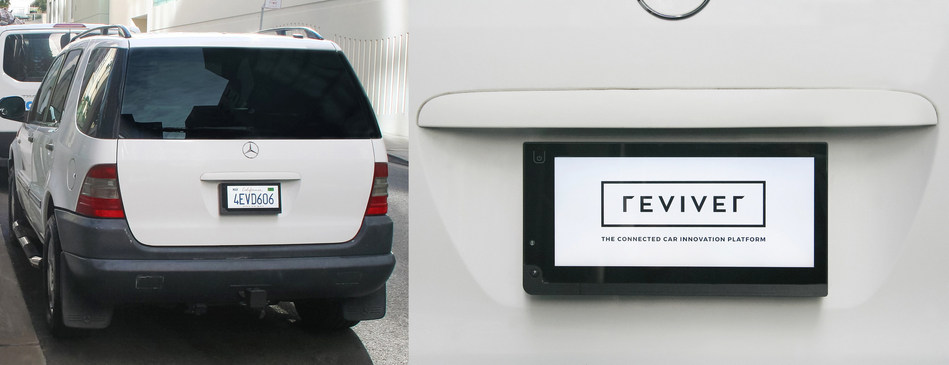 On the road, rPlate(TM) is a hi-tech license plate; when parked can display custom messages / images