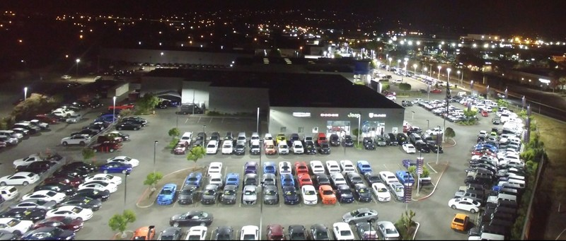 San Leandro Chrysler Jeep Dodge Ram in California brightens its lot under new LED lights.