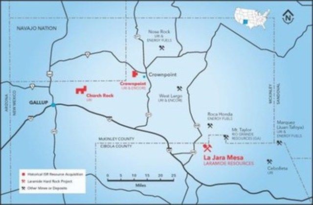 Laramide's large land package is located in the heart of the Grants Mining District in McKinley County, New Mexico, one of the most historically significant uranium-producing districts in the U.S. (CNW Group/Laramide Resources Ltd.)