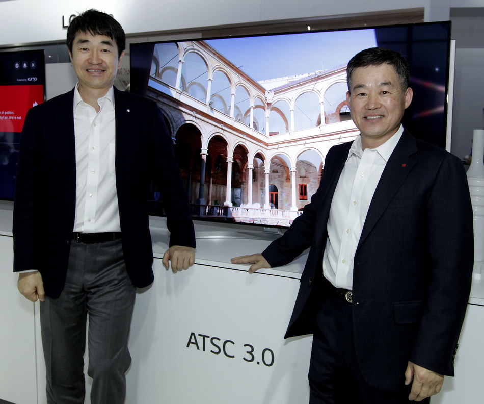 LG Electronics is launching the first ATSC 3.0-equipped 4K Ultra HD TVs in Korea as SBS and other Korean broadcasters begin Next Gen TV broadcasting this spring in advance of the 2018 Winter Olympics.  At CES 2017, Suk-Mynn Yoon, CEO and Vice Chairman of SBS Media Holdings, (left) was briefed by Dr. Jong Kim, Senior Vice President, LG Electronics Office of the CTO and President, of LG's Zenith R&D Lab.