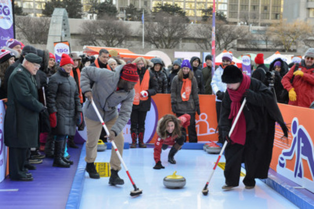 In celebration of Canada's 150th, the ParticipACTION 150 Play List was revealed today through a 150-shaped activity course. The kick-off event had dignitaries, Olympians and athletes checking a few activities off the list, such as curling. Canadians can check as many activities off the list as possible throughout 2017 for chances to win. Visit www.participACTION.com/150 (CNW Group/ParticipACTION)
