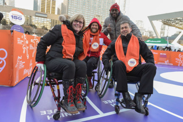 The ParticipACTION 150 Play List was revealed today in celebration of Canada's 150th. The Honourable Carla Qualtrough, Minister of Sport and Persons with Disabilities, and Elio Antunes, President & CEO of ParticipACTION, along with Paralympian Josh Cassidy and sprinter Sam Effah check wheelchair racing (athletics) off the list while travelling through a 150-shaped activity course. Canadians can check as many activities off the list as possible throughout 2017 for chances to win. Visit www.participACTION.com/150 (CNW Group/ParticipACTION)