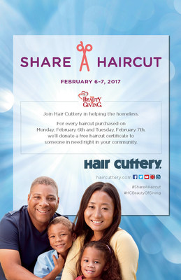 For every haircut purchased on Feb. 6 and Feb. 7, a free haircut certificate will be donated back to a homeless adult or child in the community of one of Hair Cuttery's nearly 900 salons.