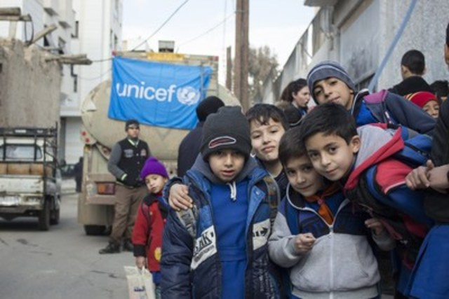 This week, UNICEF started trucking water to 50 schools in the capital Damascus and surrounding areas.  Since 22 December, water has been cut for at least four million residents of the capital as a result of fighting in the Wadi Barada area near suburbs of Damascus, where much of the city's water supply originates. ©UNICEF/ Syria 2016/ Damascus/ Muhannad Al-Asadi (CNW Group/UNICEF Canada)