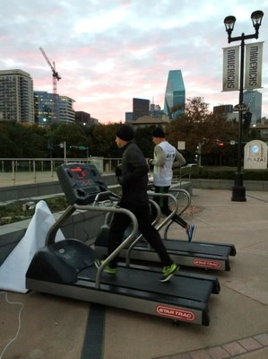 Pictured: ACE associate Eloy Gonzalez and CEO Jay Shipowitz running the first hour of the Treadmill Challenge