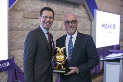 Mark Stoever, Chief Executive Officer of Monster and Dale Peinecke, Commissioner of Washington Employment Security Department, winner of the 2016 Monster Innovation Award(TM)