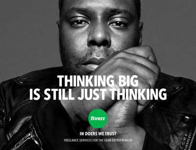 """Iconic photographs of lean entrepreneurs and Fiverr community members are used in various executions of """"In Doers We Trust,"""" a multi-million dollar, integrated marketing campaign. World-famous portrait photographer Platon shot the three shown here, as well as 15 more. Other photos used in the campaign are the work of award-winning photographer Sandro."""