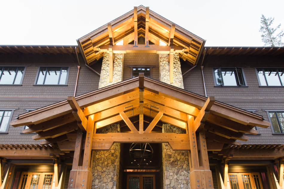 The main lodge at 1440 Multiversity, a new 75-acre learning campus in the redwoods of Santa Cruz County, California.