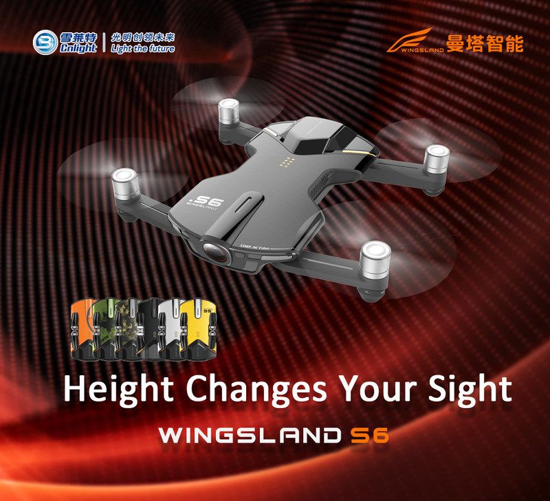 Cnlight Wingsland S6, 4K Pocket Drone, unveiled at America (PRNewsFoto/Wingsland Technology)