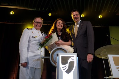 International recording artist and world's best-selling Soprano Sarah Brightman officially names and welcomes Seabourn Encore to the Seabourn family. She served as the godmother of the new ultra-luxury ship, which was named in a festive inaugural gala in Singapore on January 7, 2017. Pictured (L to R): Seabourn Captain Mark Dexter, Sarah Brightman and Seabourn President Richard Meadows.