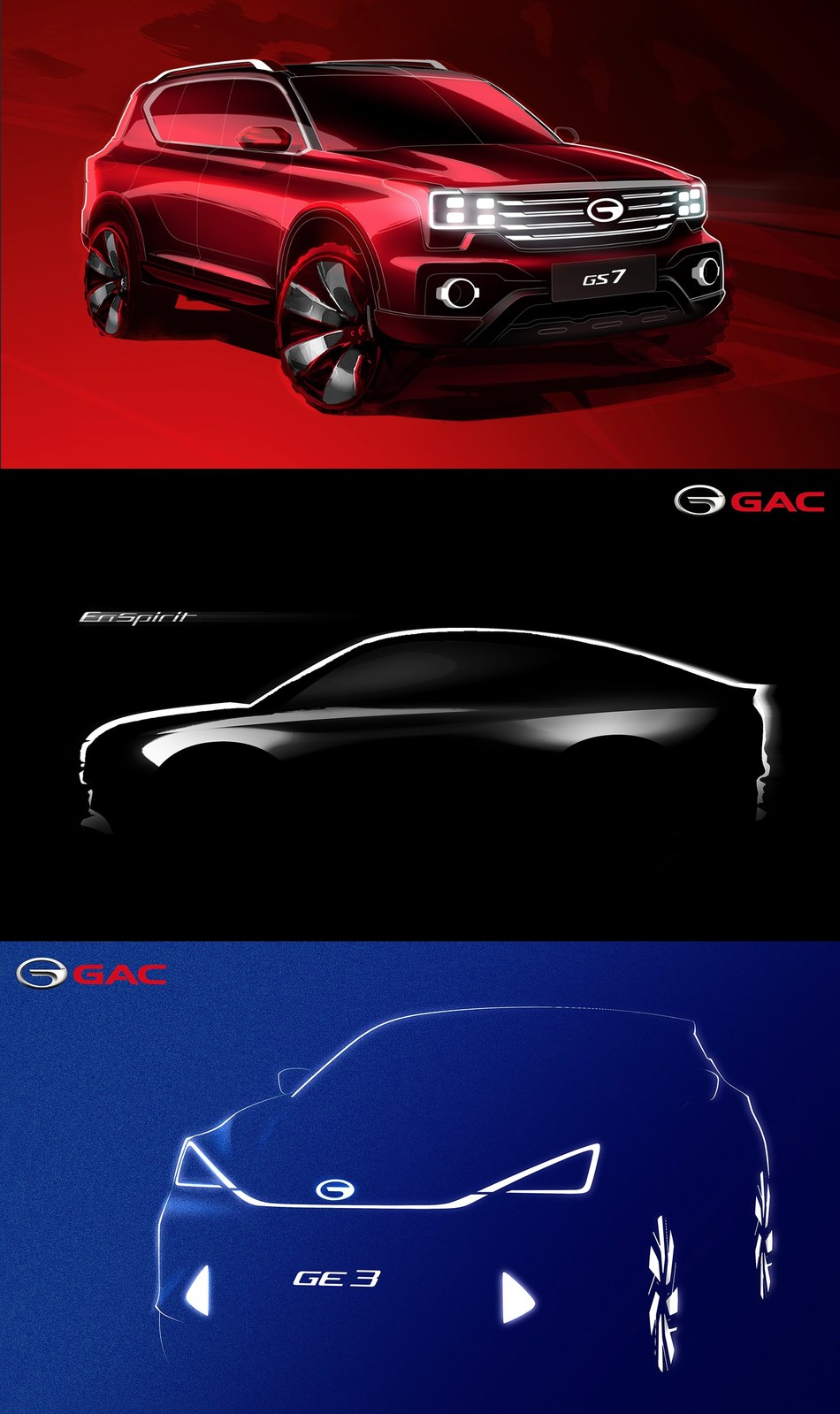 GAC Motor's three most anticipated vehicles will be released at 2017 NAIAS (PRNewsFoto/GAC Motor)