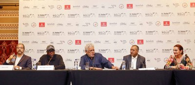 """Om Puri at the Teaser launch of the feature """"Solar Eclipse Depth of Darkness"""" at Dubai International Film Festival 8th December 2016"""
