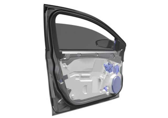 Magna has developed a new, ultralight door module that achieves 42.5% mass savings and can be used on approximately 70 percent of the current light vehicle market. (CNW Group/Magna International Inc.)
