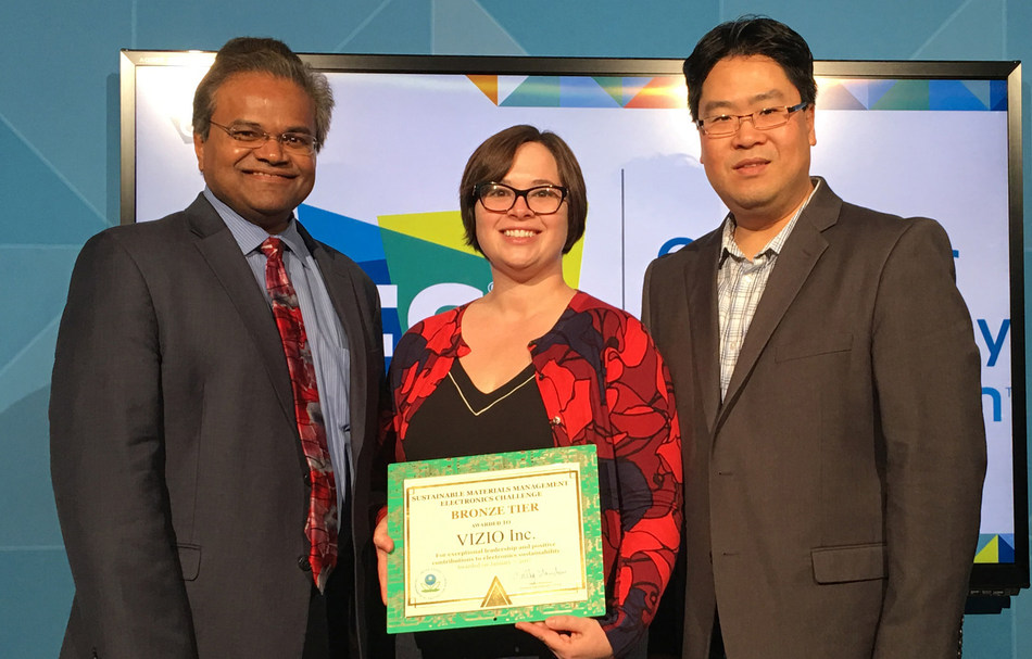 EPA Honors VIZIO with Sustainable Materials Management Electronics Award. VIZIO Recognized with Bronze Tier Award for Banner Eco-Minded Recycling Program.