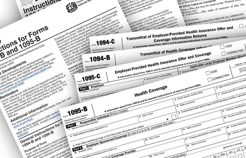 IRS Forms 1094 1095 B & C for Sections 6055 and 6056.