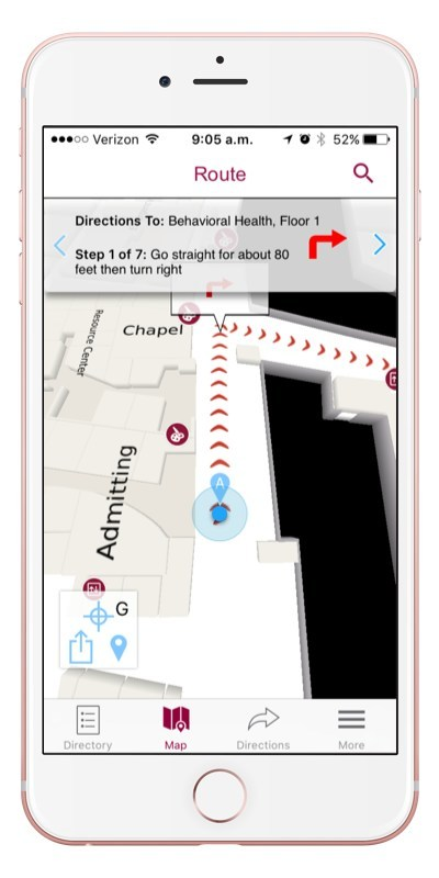 Stamford Health Find My Way features turn-by-turn indoor navigation, off-route notification and other rich features to ensure that patients and visitors never get lost, helping them get to their appointments on-time with less stress.