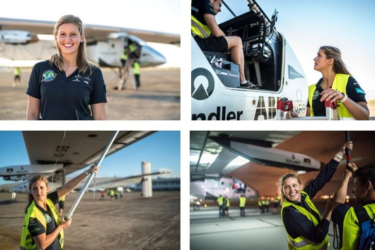 Covestro engineer Paige Kassalen, who served on the ground crew for the Solar Impulse Round the World flight, has been named to the Forbes 30 Under 30 Energy list.  (Photo credit: Jean Revillard REZO)