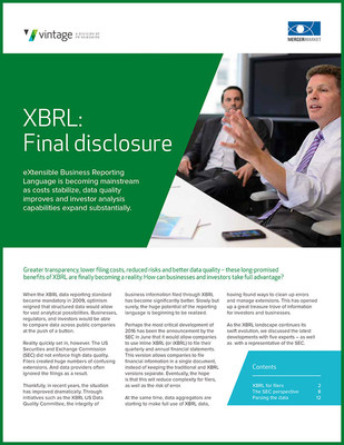 Greater transparency, lower filing costs, reduced risks and better data quality - these long-promised benefits of XBRL are finally becoming a reality. How can businesses and investors take full advantage? READ THIS WHITEPAPER.