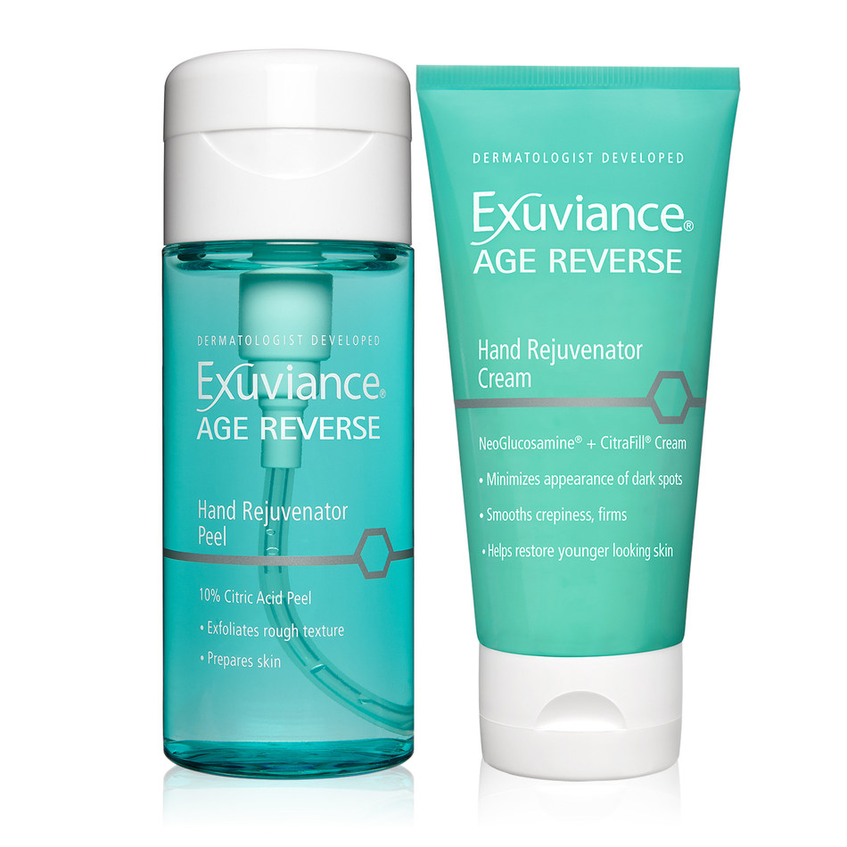 Exuviance AGE REVERSE Hand Rejuvenator helps diminish all the signs of aging on hands - crepiness, loose skin, and dark spots - with a 10% Citric Acid Peel and a NeoGlucosamine(R) + CitraFill(R) Cream.