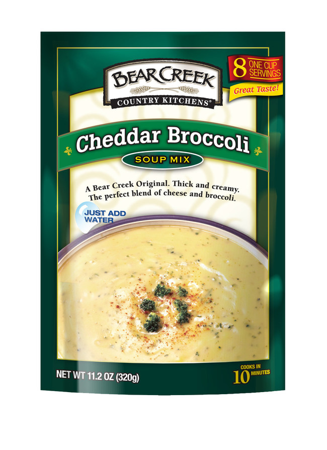 Bear Creek hearty, dry soup mixes offer the opportunity to bring home a little comfort this soup season. While they simmer on the stove, you can smell the hearty goodness. They're quick and easy to make and come in 15 delicious variations, including such favorites as Cheddar Broccoli and Creamy Potato.