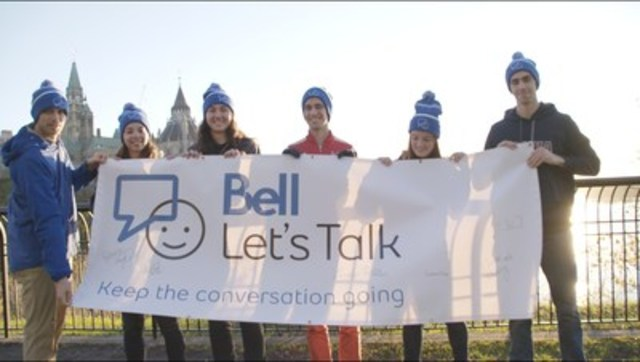 University student-athletes from across Canada come together to talk about mental health. L-R: Chad Bush, University of British Columbia; Rebecca Terejko, University of British Columbia; Cindy Nelles, McMaster University; François Jarry, McGill University; Elenor Henry, Mount Allison University and Geoff Schemitsch, Acadia University (CNW Group/Bell Canada)
