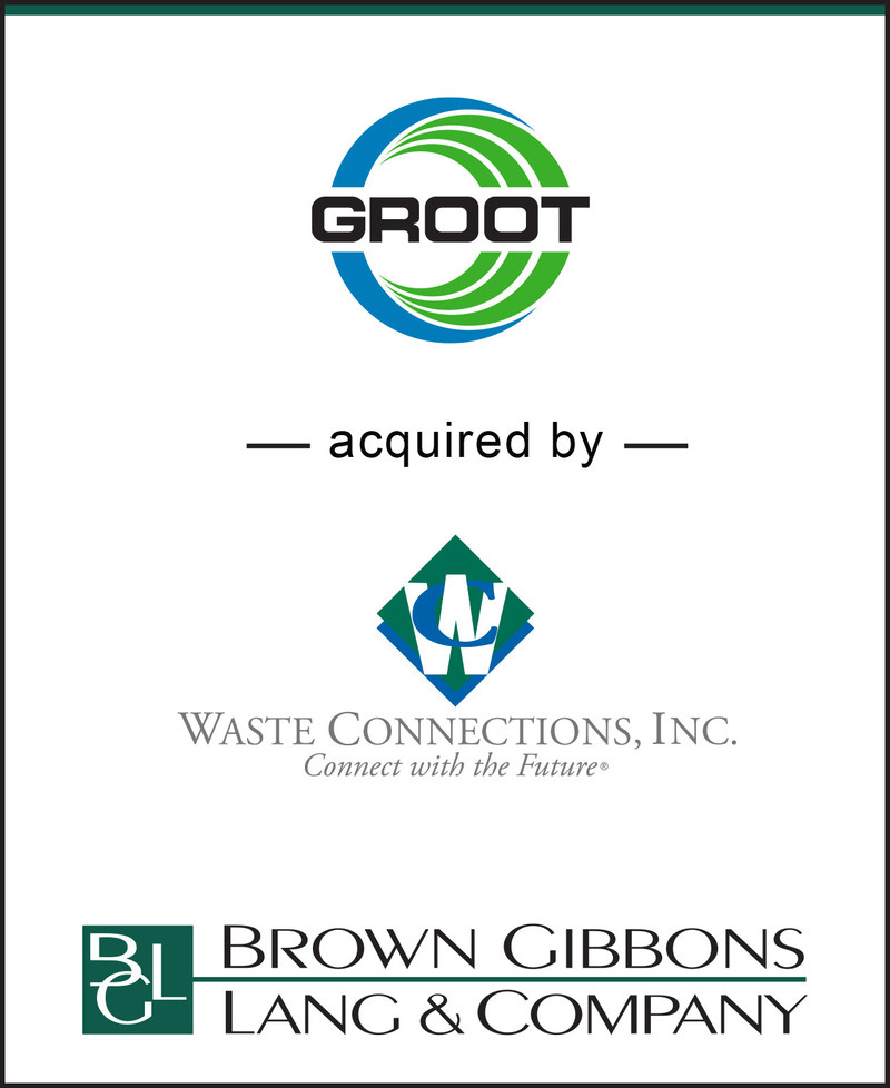 Brown Gibbons Lang & Company (BGL) is pleased to announce the sale of Groot Industries, Inc. (Groot) to Waste Connections, Inc. (TSX/NYSE: WCN).  BGL's Environmental & Industrial Services team served as the financial advisor to Groot in the transaction.