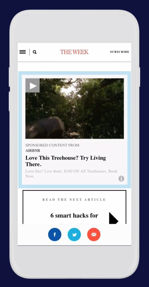 An example of an in-feed native video ad placement, of the type transacted through the Sharethrough Exchange.