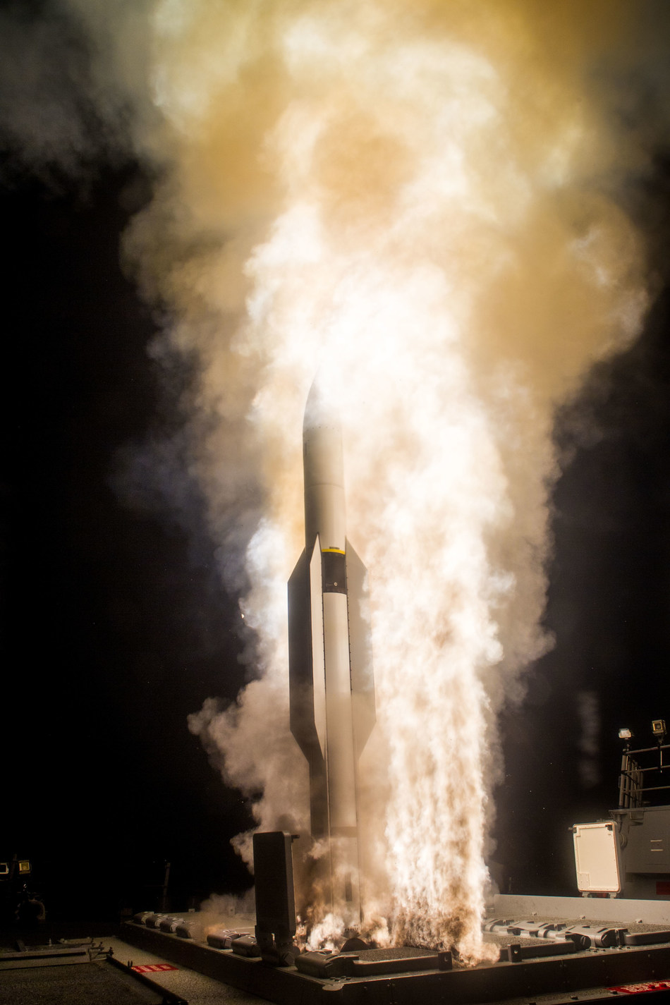 A Standard Missile-6 is launched from the USS John Paul Jones before destroying a medium-range ballistic missile target at sea in its final seconds of flight. (Dec., 2016 - photo courtesy of MDA)