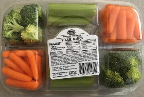 Organic Veggie Tray wrong back label