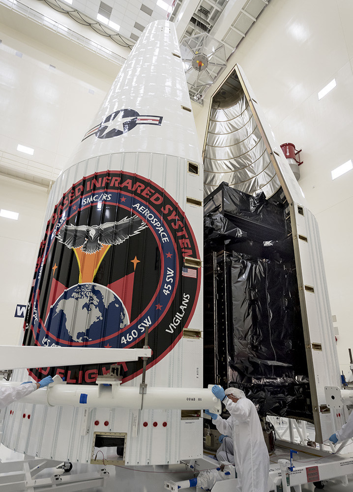 The SBIRS GEO Flight 3 satellite was encapsulated on Jan. 7. During encapsulation, the molded launch vehicle fairing is moved around the satellite to align flush with the surface of the rocket, ensuring the nose cone is aerodynamically smooth during launch.