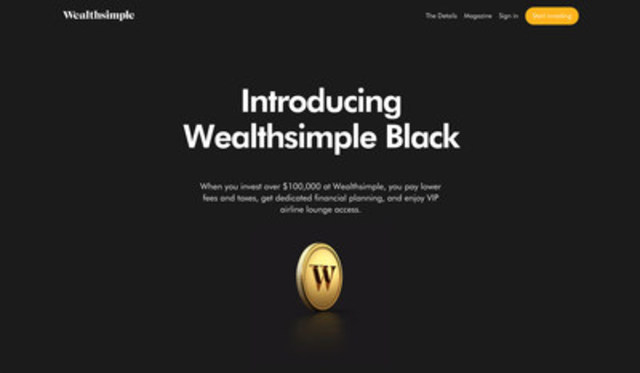 Wealthsimple Black offers premium services, while a fully redesigned wealthsimple.com makes investing even more simple, transparent and intuitive. (CNW Group/Wealthsimple)