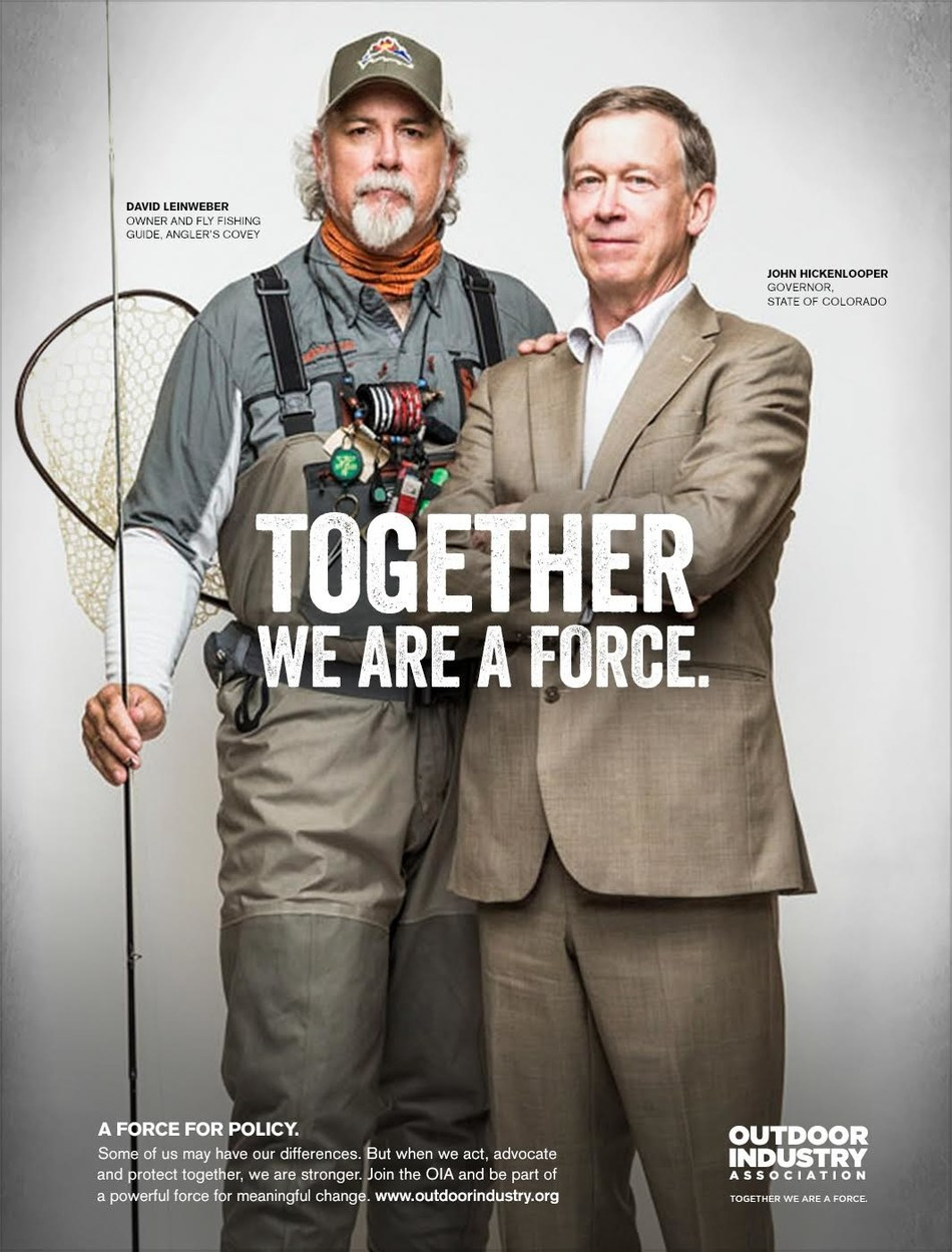 Outdoor Industry Association, the trade association and catalyst for meaningful change in the outdoor recreation industry, debuts 'Together We Are a Force' campaign. The campaign which illustrates the strength in numbers the outdoor industry possesses when it comes to tackling important issues such as climate change, trade policy and the health and wellness benefits of getting kids outside.  The campaign comes to life through a series of print ads, videos and content that profile influential industry pairings that exemplify the campaign's theme Together We Are a Force.