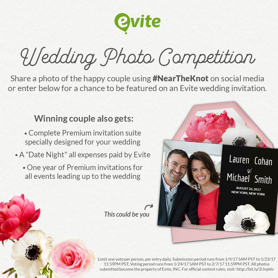 Evite(R) Announces New Wedding Collection Invitations; Launches Photo Contest for Newly-Engaged Couples