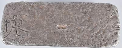 Silver bar recovered from 1622 shipwreck of Nuestra Senora de Atocha, weight 1045ozt (32,500 grams), comes with COA from Treasure Salvors Inc., estimate $30,000-$50,000