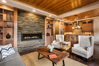Active flames and multiple interior options pair to create a unique look for the Echelon II contemporary fireplace. Available in four single-sided and two see-through sizes, it features multiple fronts, surrounds, and media to allow builders to help their homebuyers customize it to their taste.