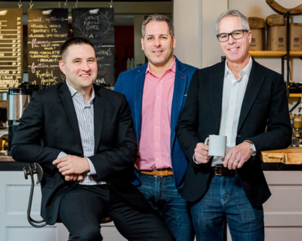 The Give Agency Founders Chaz Thorne, Mike Maloney and Brian Hickling are building one of the biggest agencies in Toronto for one week to help charities. (CNW Group/Sun Life Financial Canada)