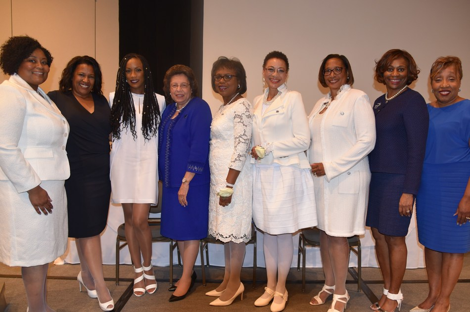 """New Honorary Members of Zeta Phi Beta Sorority, Incorporated (From left to right - Shonte Fuller, National Co-Chair of Honorary Membership; Natalie Dillard Brannon, National Co-Chair of Honorary Membership; Rhona Bennett, entertainer and """"Personal Power"""" coach; Dr. Mary Breaux Wright, International President; Dr. Anita Hill, Esq., professor, author and women's equality activist; Cynthia James, speaker, author and coach; Dr. Jylla Moore Tearte; Past International President; Valerie Hollingsworth-Baker, National First Vice-President of Membership; and Norma Dartis, National Historian)"""
