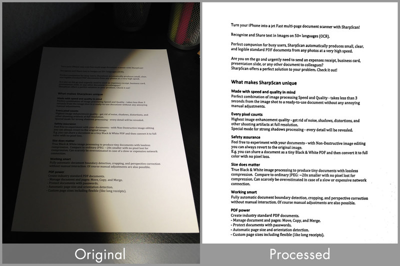 How Pixelnetica Document Imaging SDK works: Document photo taken by smartphone original (left) and processed by SDK (right).