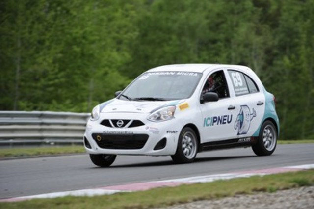 Stefan Rzadzinski in his Ici Pneu/Tireland Nissan Micra Cup car (#69), sponsored by Groupe Touchette (CNW Group/Nissan Canada Inc.)