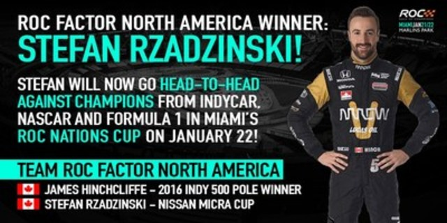 Race Of Champions poster announcing the North American winner, Nissan Micra Cup driver Stefan Rzadzinski of Edmonton, Alberta (CNW Group/Nissan Canada Inc.)