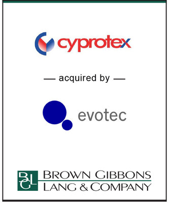 (BGL) is pleased to announce the sale of Cyprotex PLC (CRX) to Evotec AG (EVT). BGL's Healthcare & Life Sciences team served as the exclusive financial advisor to Cyprotex in the transaction. Evotec acquired 100 percent of the outstanding shares of Cyprotex in an all-cash transaction valued at Pounds Sterling55.7 million effective December 15, 2016.