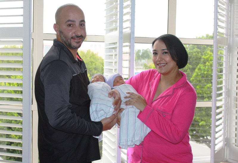 Khalid Elbayoumy and Nadine Motaweh, parents of newborn twins Saif (left) and sister Jada-the 75,000th-plus babies delivered at The Women's Hospital at Saddleback Memorial Medical Center in Laguna Hills, Calif. in their LDRP (Labor, Delivery, Recovery, Post-Partum) Suite at the hospital, with state-of-the-art care and equipment in the comfort of 39 private obstetrical suites.