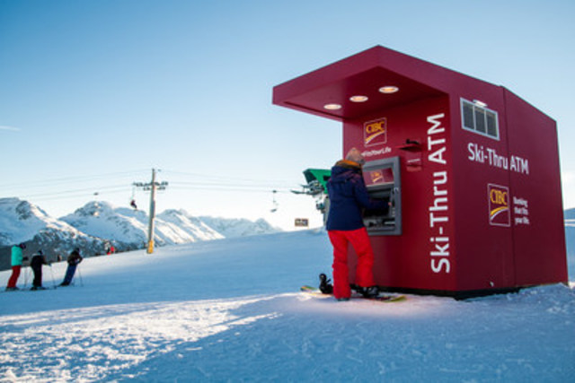 CIBC takes banking to new heights with Canada's first ski-thru ATM at the top of Whistler Mountain at Whistler Blackcomb Ski Resort. (CNW Group/CIBC)